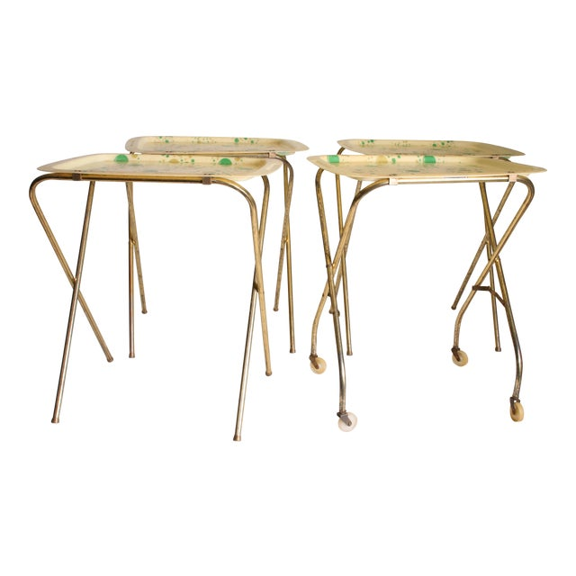 Mid Century Modern Yellow & Green TV Tray Tables - Set of 4 - Image 1 of 11