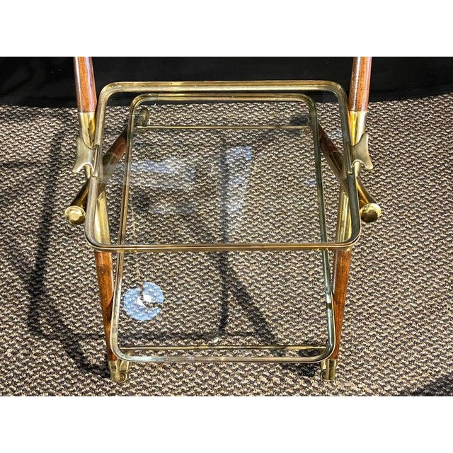 Mid-Century Modern Bar Cart, Teak and Brass For Sale - Image 4 of 13