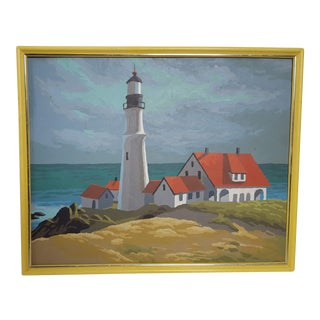 Vintage Mid Century New England Nautical Seascape Painting For Sale