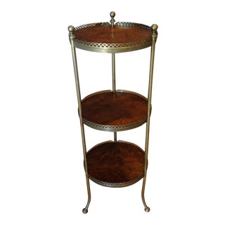 Brass and Mahogany Etagere For Sale