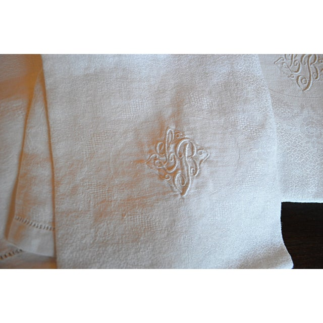 Monogrammed Antique French Table Linens - Set of 7 - Image 4 of 7