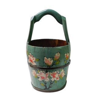 Chinese Handmade Floral Wood Bucket
