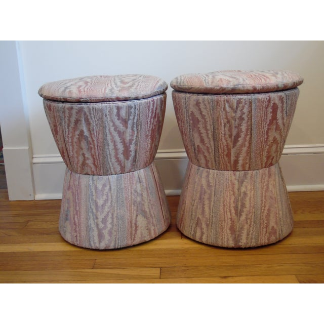 Unique 80's upholstered stools with button tufted top. Taffeta pinks and purples.