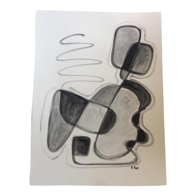 Original Black & White Abstract Painting - Image 1 of 5