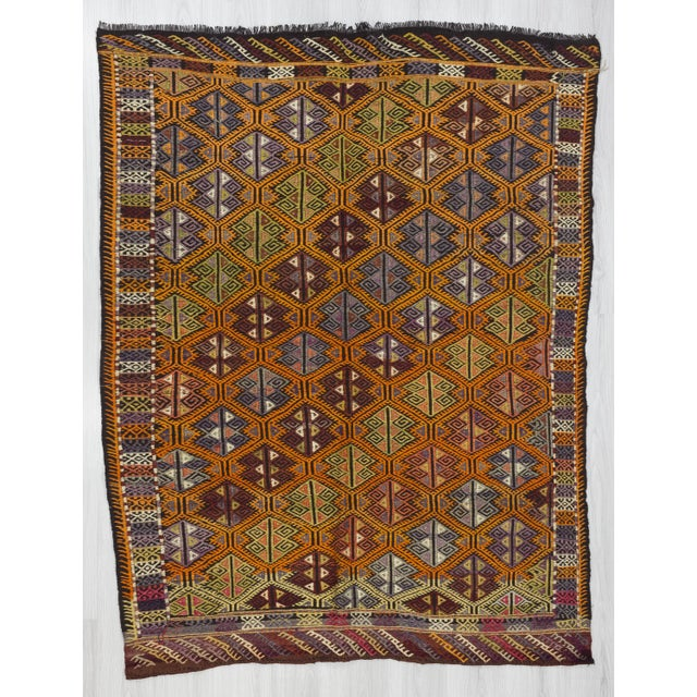 """Vintage Embroidered Turkish Kilim Rug - 5'6"""" x 7'1"""" For Sale In Los Angeles - Image 6 of 6"""