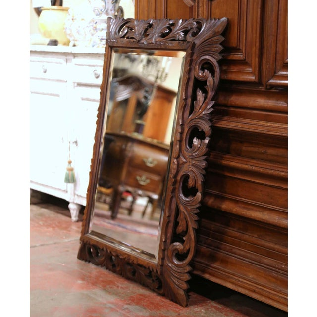 19th Century French Louis XIII Carved Oak Overlay Beveled Glass Wall Mirror For Sale - Image 4 of 9