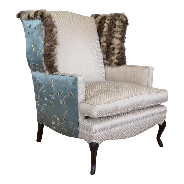 Silk & Fur Teal & Champagne Wingback Chair For Sale - Image 9 of 9