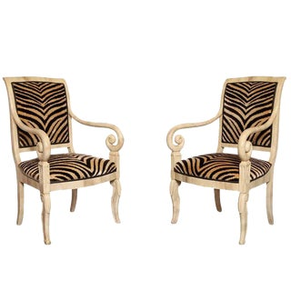 Pair of Faux Parchment Lacquered Armchairs For Sale
