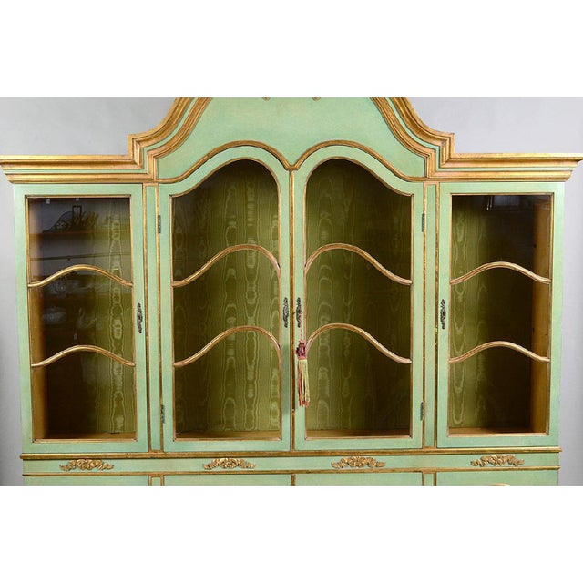 Baroque Italian Baroque Style Parcel Gilt Green Painted Cabinet For Sale - Image 3 of 5