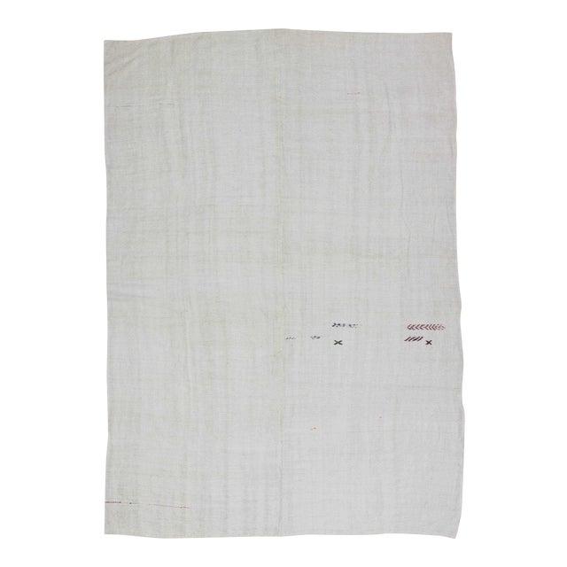 Vintgage white Turkish hemp kilim rug For Sale