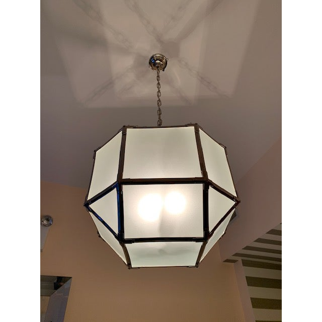 Modern Visual Comfort Morris Medium Lanterns in Polished Nickel (2 Available) For Sale - Image 3 of 4