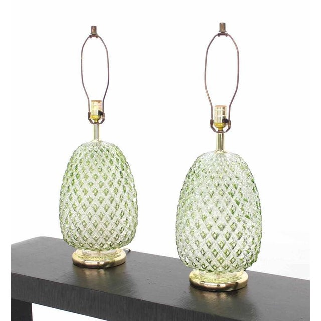 Lovely pair of mid century modern glass pineapple table lamps decaso pair of mid century modern glass pineapple table lamps image 2 of 7 aloadofball Choice Image