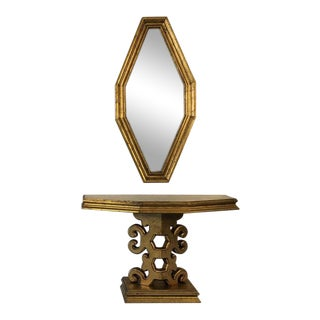 1950s Hollywood Regency Gold Console and Mirror For Sale