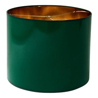 Large High Gloss Dark Green Drum Lamp Shade With Gold Lining