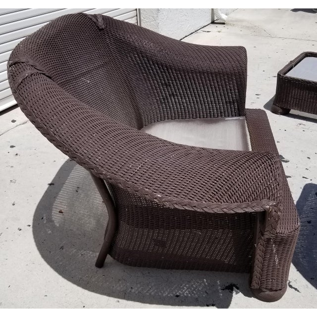 Lloyd Flanders Loom Wicker Weather Resistant Lounge Chair with Custom Cushions For Sale - Image 4 of 5