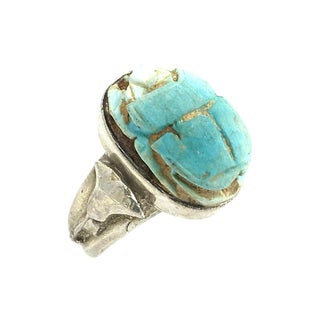 Sterling & Turquoise Scarab Beetle Ring For Sale