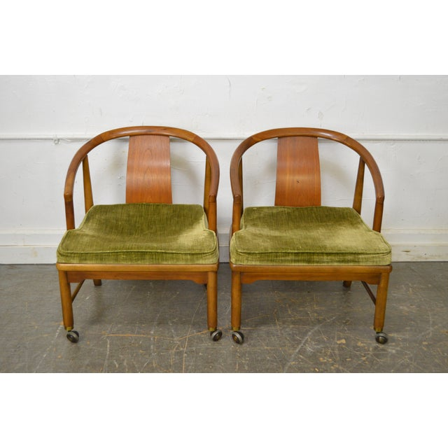 Edward Wormley Dunbar Style Mid-Century Barrel Back Chairs - A Pair - Image 2 of 11
