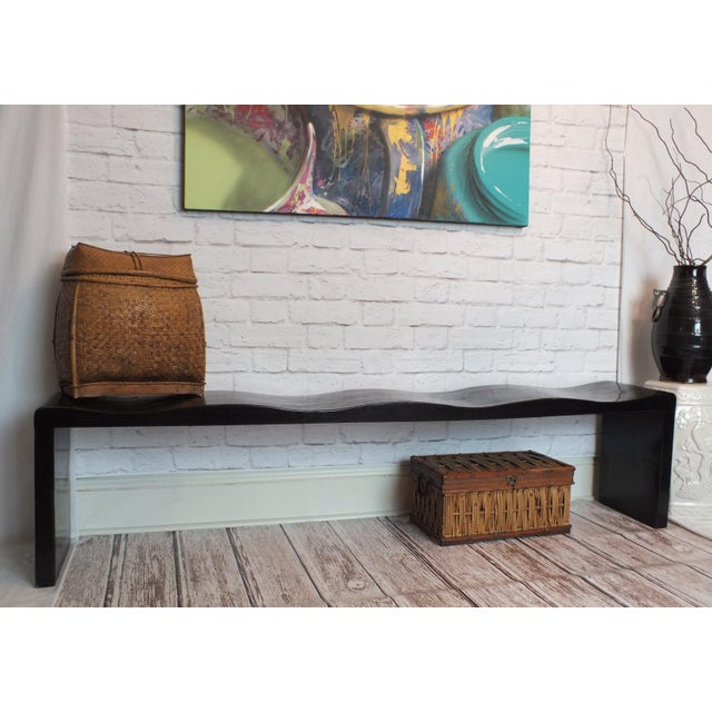 Vintage Wave Bench in Black Lacquer - Image 2 of 11