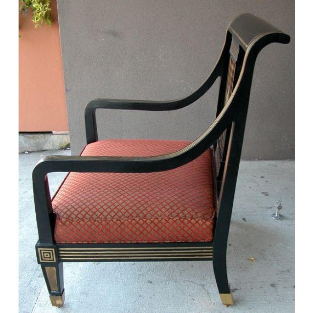 Boldly Scaled Russian Neoclassical Style Black Lacquer Armchair w Brass Inlay For Sale In San Francisco - Image 6 of 6