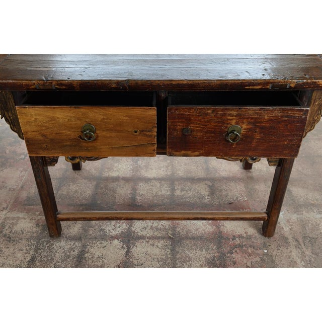 Chinese Antique Wooden Altar Table With Drawers For Sale In Los Angeles - Image 6 of 10