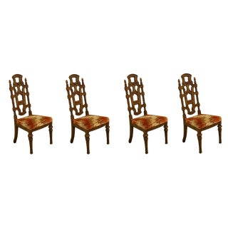 Late 20th Century Stanley Furniture Jacobean Style Dining Side Chairs- Set of 4 For Sale
