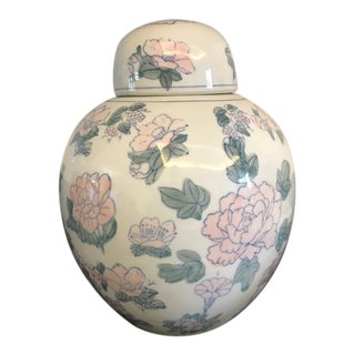 Vintage Chinoiserie Porcelain Ginger Jar For Sale