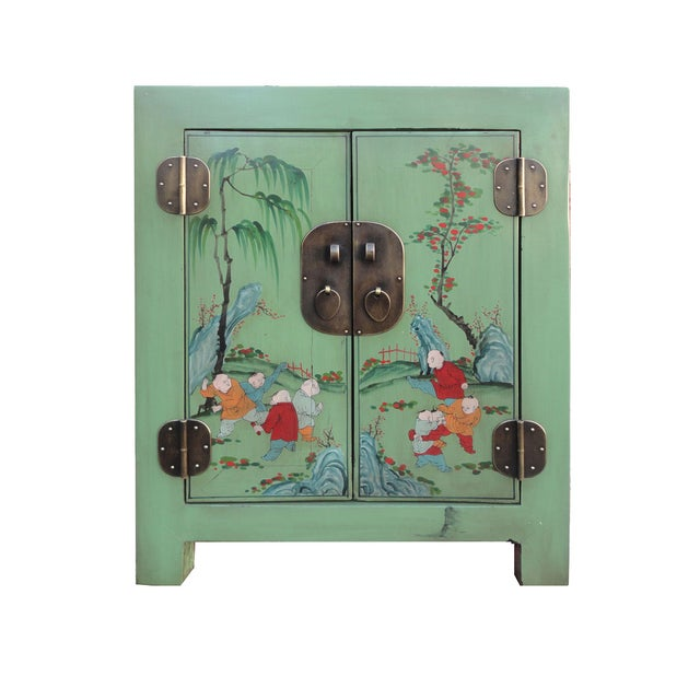 Petite Pastel Green Butterfly Top Nightstand - Image 1 of 7