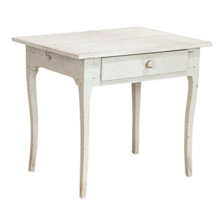 Antique Original White Painted Swedish Side Table For Sale