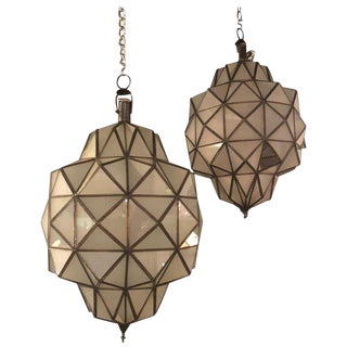Art Deco Style Dome Form Milk Glass White Chandeliers or Lanterns - a Pair For Sale