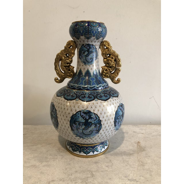 Metal Early 20th Century Chinoiserie Blue & Gold Cloisonné Vase For Sale - Image 7 of 7
