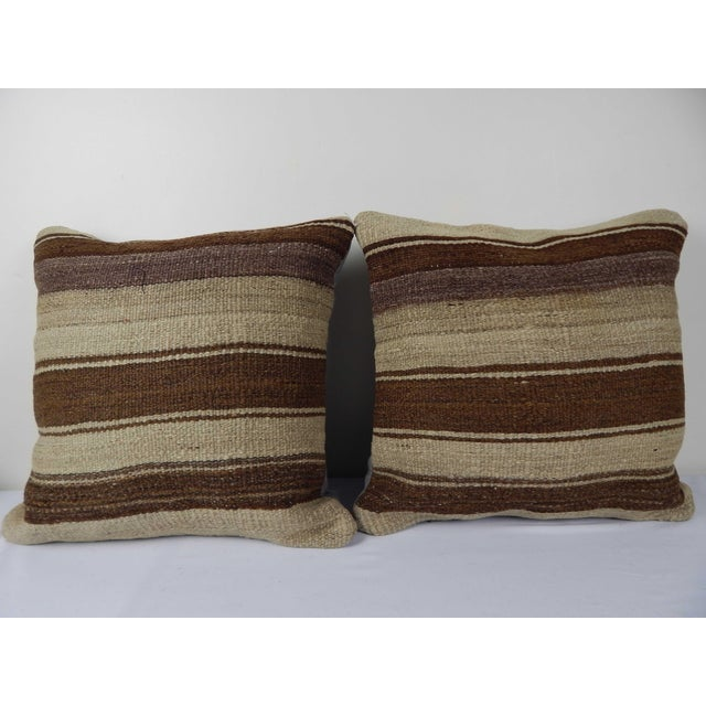 """Set of Two Turkish Hemp Kilim Pillow 18"""" X 18"""" For Sale In Dallas - Image 6 of 6"""