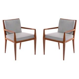 T.H. Robsjohn-Gibbings Widdicomb Walnut Leather Armchairs - A Pair For Sale