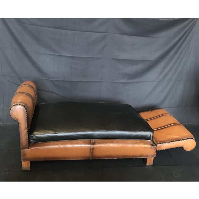 1930s French Art Deco Leather Convertible Daybed Bench For Sale - Image 5 of 13