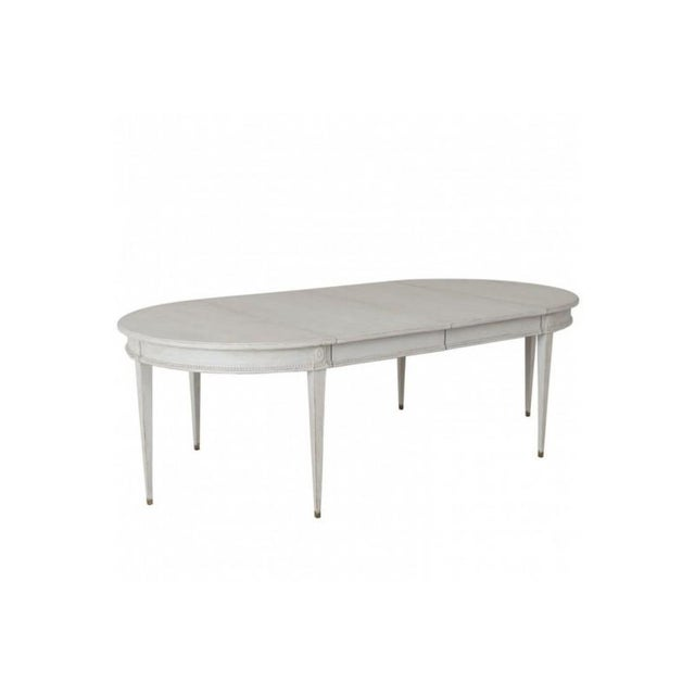 Swedish Gustavian Style Two-Leaf Extension Dining Table With Original Brass Feet For Sale - Image 11 of 11