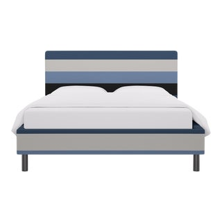 Queen Tailored Platform Bed in Blue Color Block Stripe For Sale