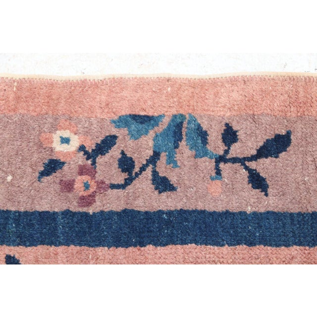Mid 20th Century Chinese Hand Knotted Floral Rug For Sale - Image 4 of 8