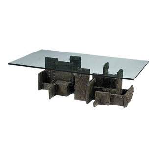 Sculpted Bronze Coffee Table by Paul Evans For Sale