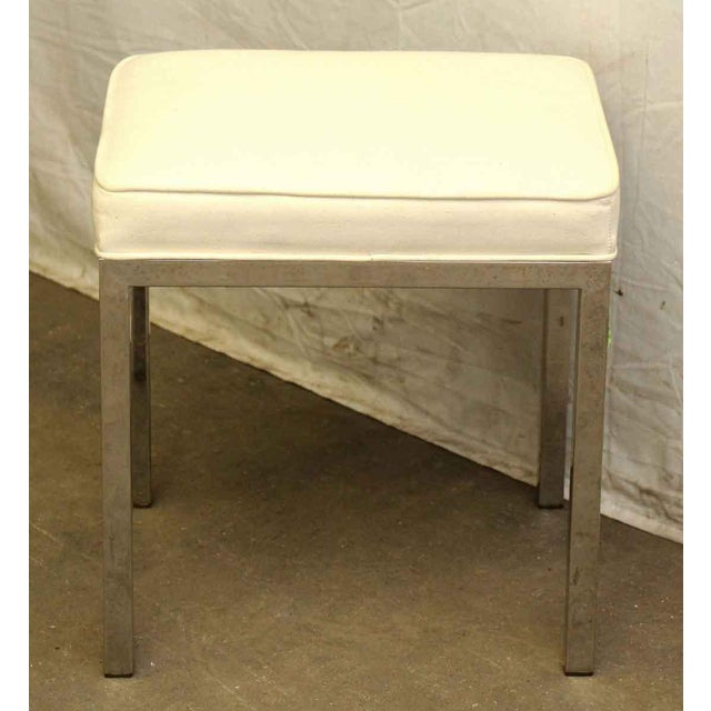 Antique White Square Stool For Sale - Image 4 of 5