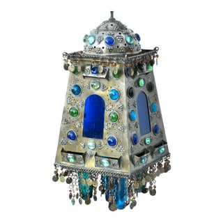 Vintage Moorish Hanging Metal Lamp With Glass Panels For Sale