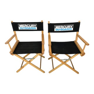 Vintage Wood Folding Director Chairs With Mercury Outboard Advertising - a Pair For Sale