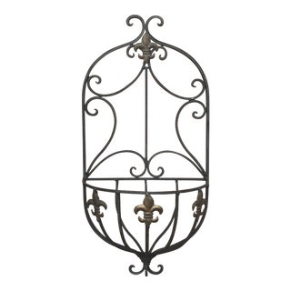 Late 20th Century Vintage Wrought Iron Wall Planter For Sale