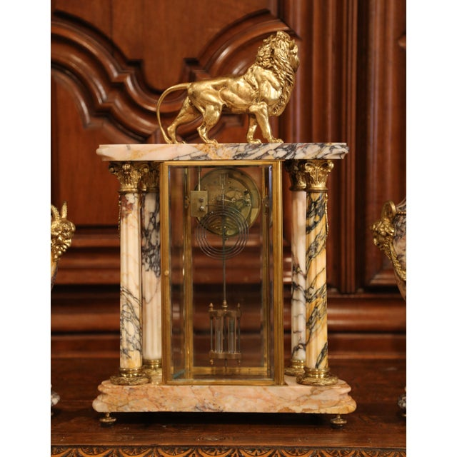 19th Century French Marble and Bronze Mantel Clock With Matching Cassolettes For Sale - Image 11 of 13