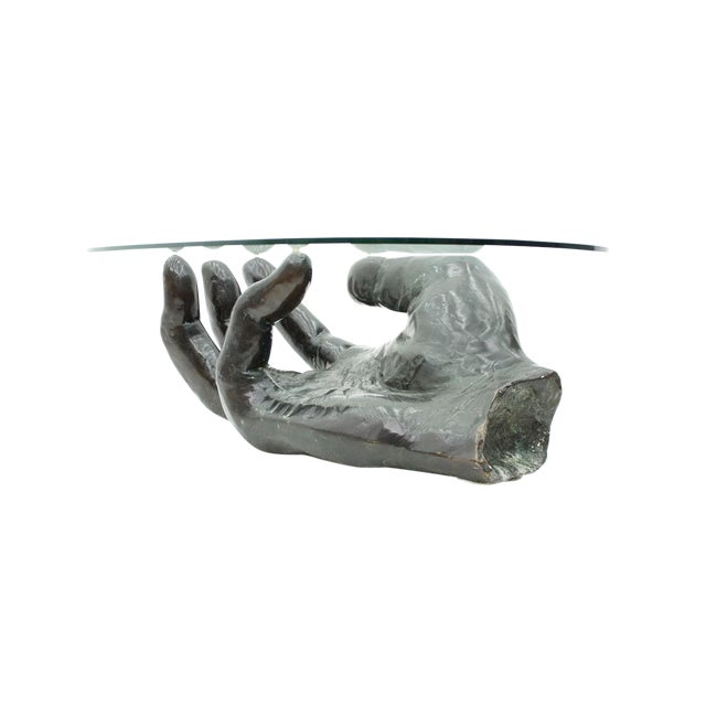 Sculptural Bronze Coffee Table in Form of a Hand Italy 1970s For Sale