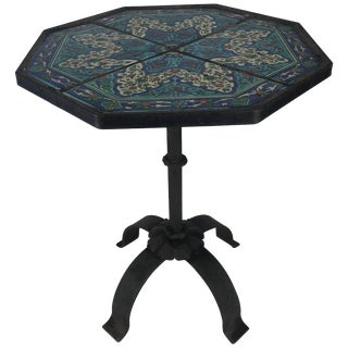 Stunning Persian Tile and Iron Stand or Table For Sale