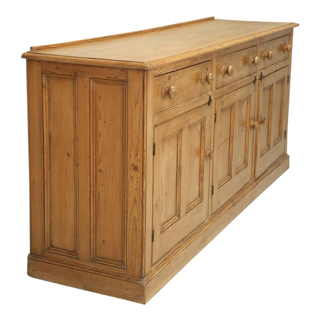 Antique English Pine Buffet/Sideboard or Dresser Base Circa 1900 For Sale