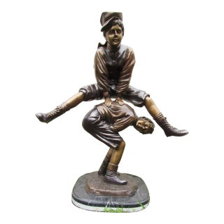 Bronze Statue of Children Playing Leapfrog For Sale