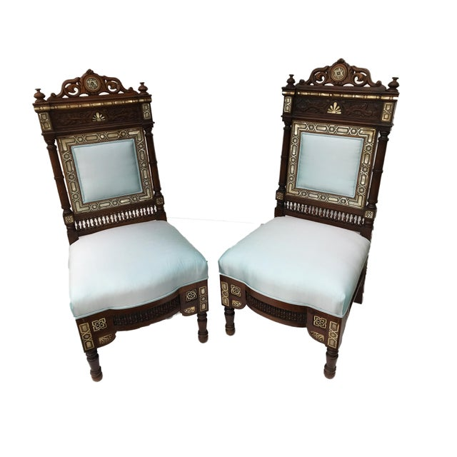Islamic Museum Pieces 19th C Moorish Pair of Chairs For Sale - Image 3 of 12