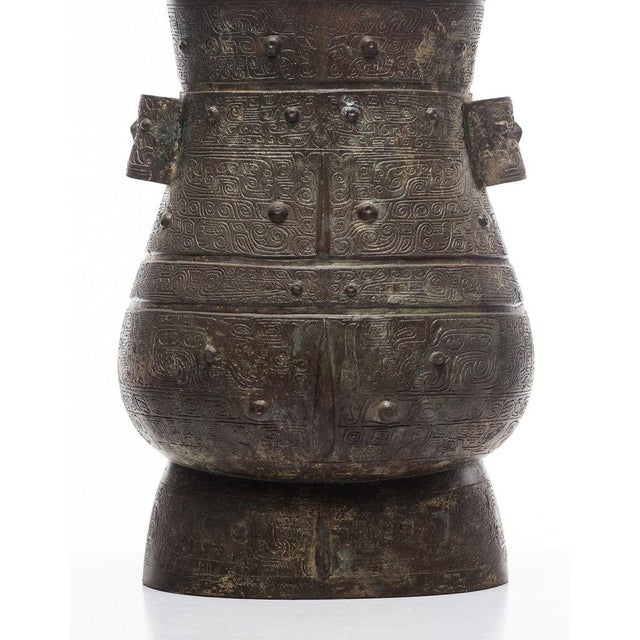 Asian Lawrence & Scott Hogo Table Lamp in Archaic Bronze For Sale - Image 3 of 6