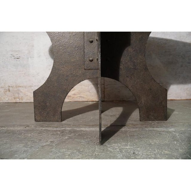 Iron X-Base Dining Table For Sale In Los Angeles - Image 6 of 7