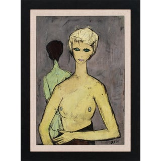 Circa 1950 Early Abstract Figurative Nude Oil Painting by Charles Levier, Framed For Sale
